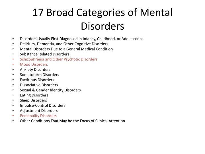 17 Broad Categories of Mental Disorders