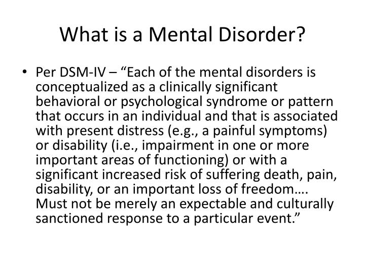 What is a Mental Disorder?