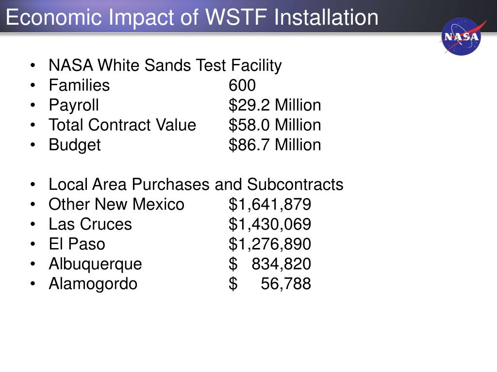 Economic Impact of WSTF Installation
