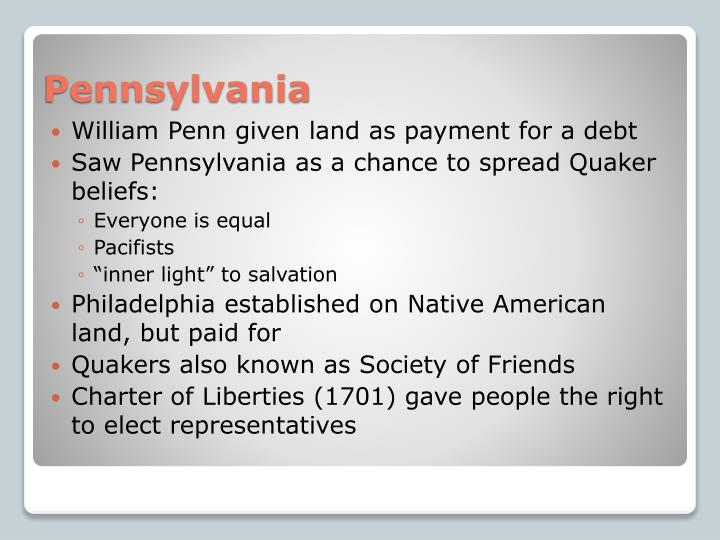 William Penn given land as payment for a debt