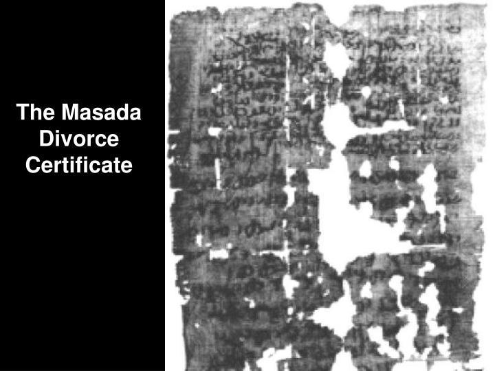 The Masada Divorce Certificate