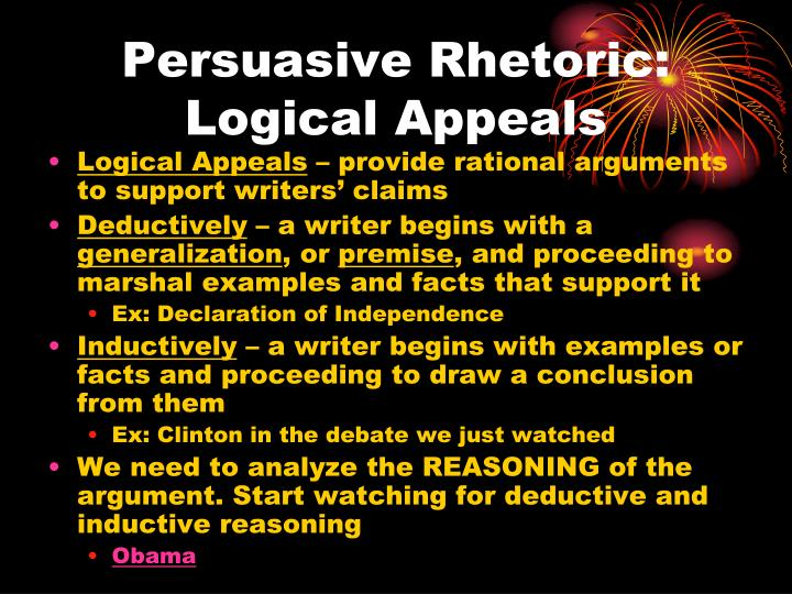 Persuasive Rhetoric: Logical Appeals