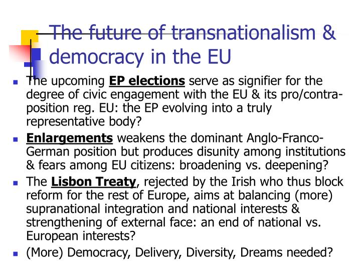 The future of transnationalism & democracy in the EU