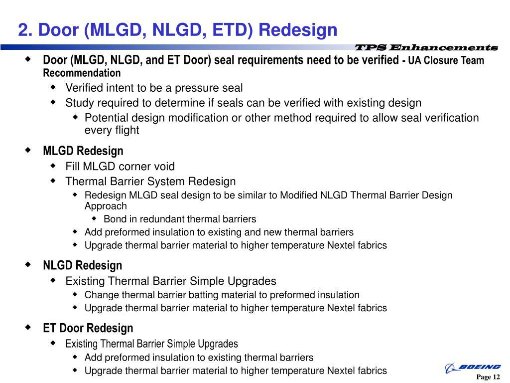 Door (MLGD, NLGD, and ET Door) seal requirements need to be verified