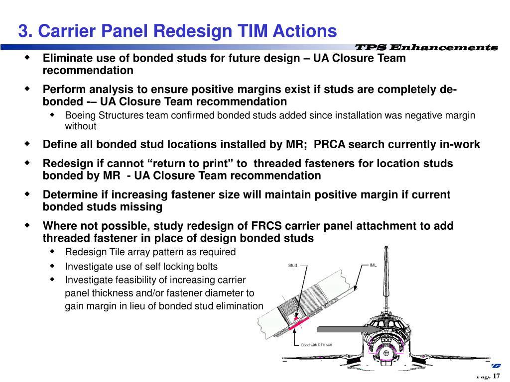 Eliminate use of bonded studs for future design – UA Closure Team recommendation