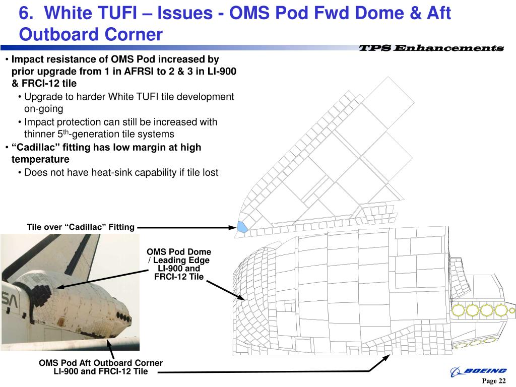 6.  White TUFI – Issues - OMS Pod Fwd Dome & Aft Outboard Corner