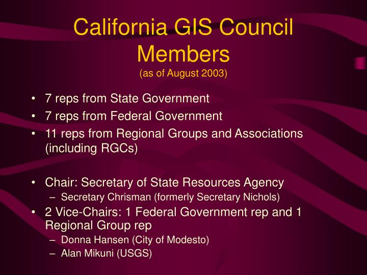 California GIS Council Members