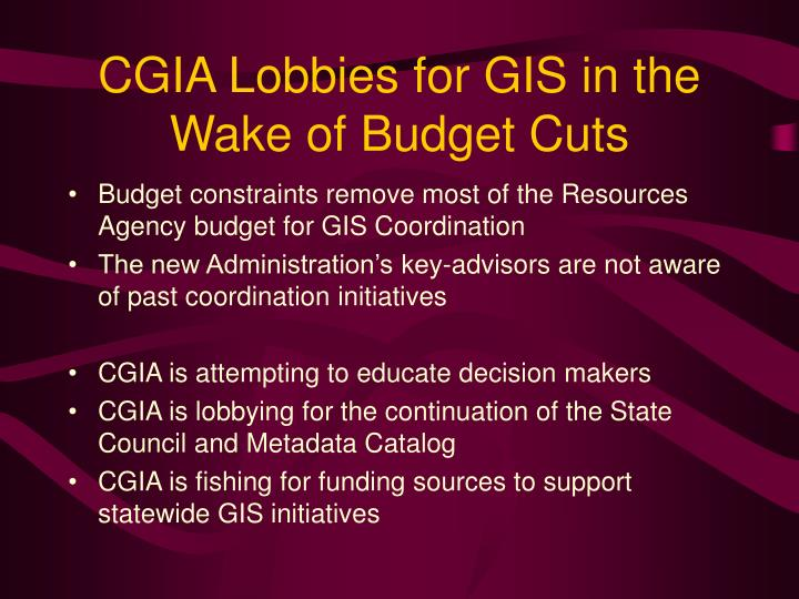CGIA Lobbies for GIS in the Wake of Budget Cuts