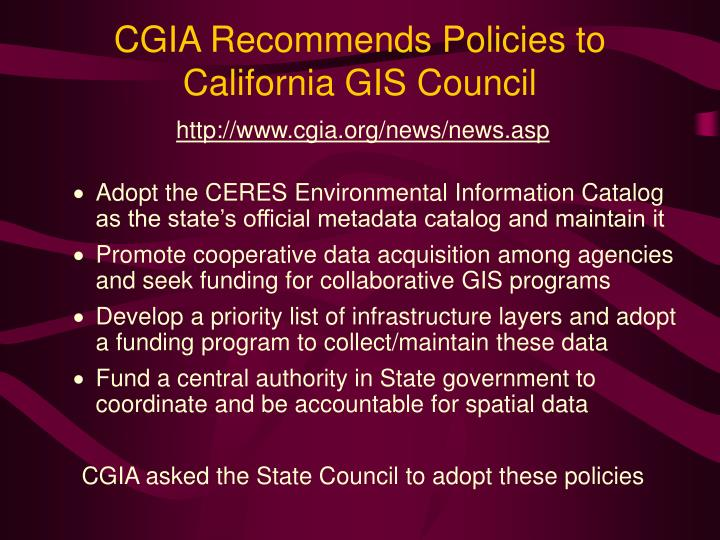 CGIA Recommends Policies to California GIS Council