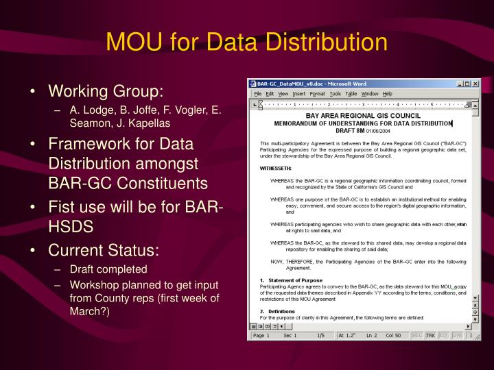 MOU for Data Distribution