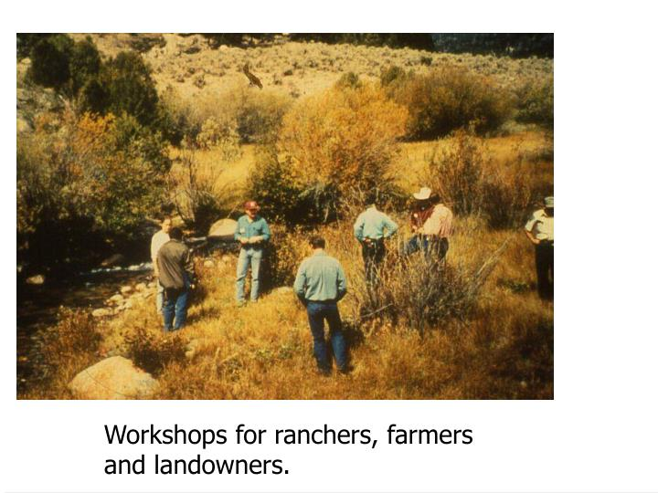 Workshops for ranchers, farmers
