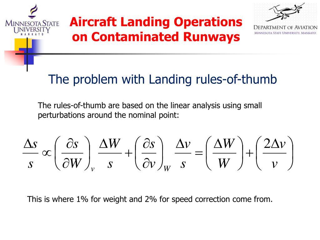 Aircraft Landing Operations on Contaminated Runways