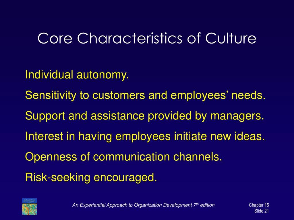 Core Characteristics of Culture