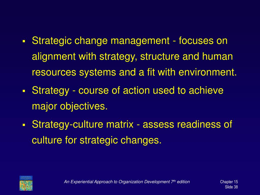 Strategic change management - focuses on alignment with strategy, structure and human resources systems and a fit with environment.