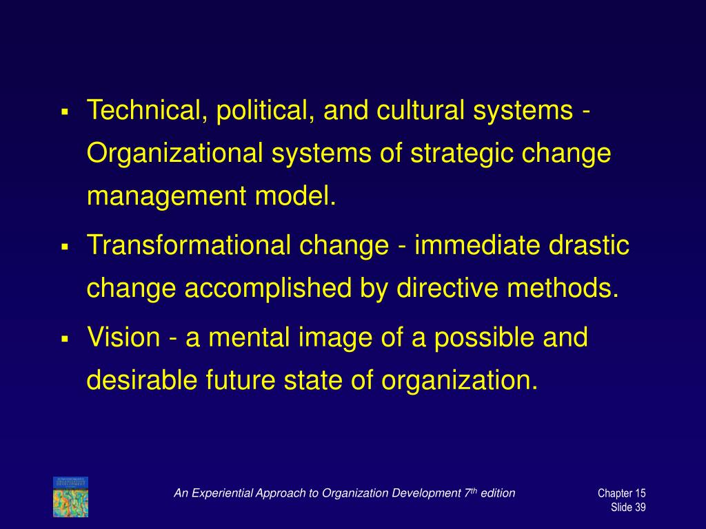 Technical, political, and cultural systems - Organizational systems of strategic change management model.
