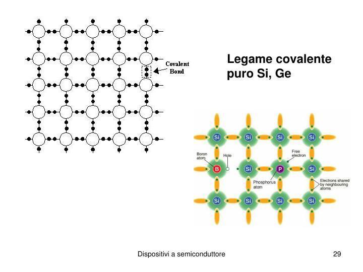 Legame covalente puro Si, Ge