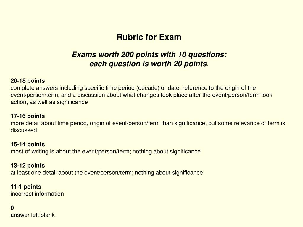 Rubric for Exam