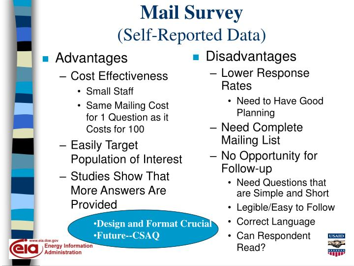 Mail survey self reported data