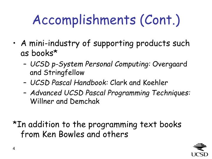 Accomplishments (Cont.)