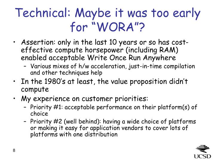 "Technical: Maybe it was too early for ""WORA""?"