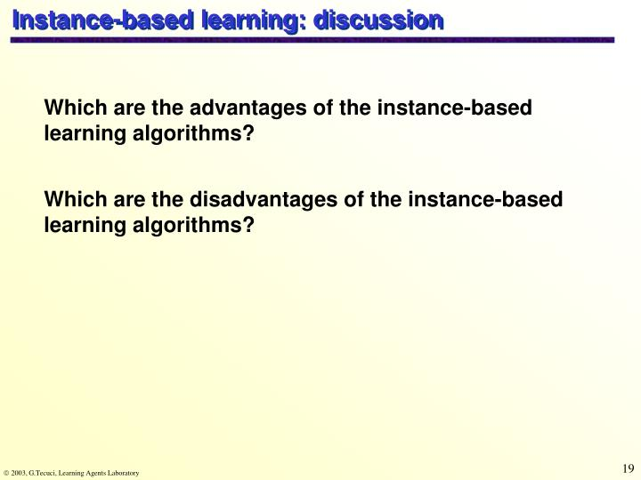 Instance-based learning: discussion