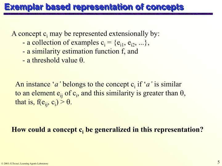 Exemplar based representation of concepts