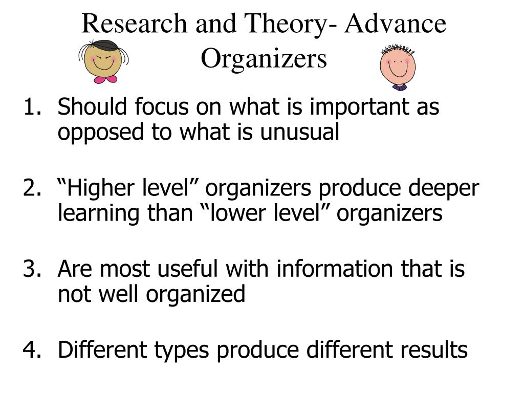 Research and Theory- Advance Organizers