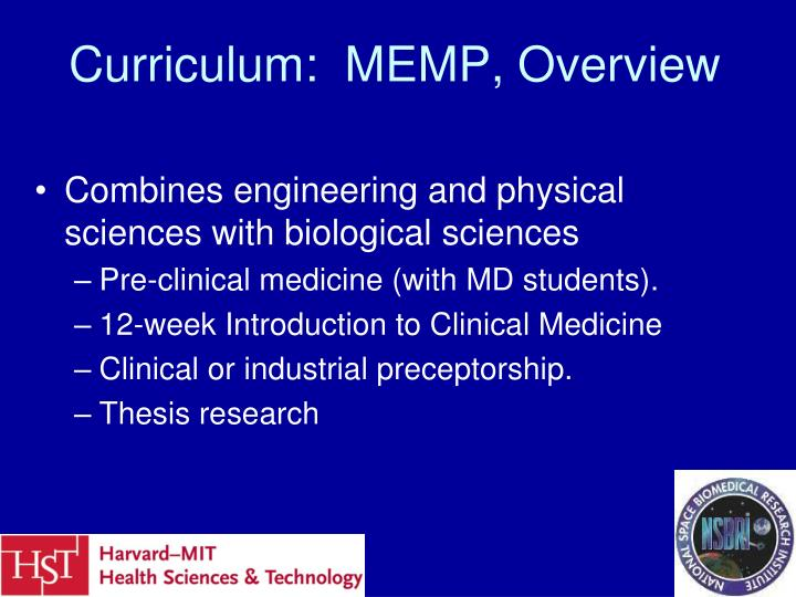 Curriculum memp overview