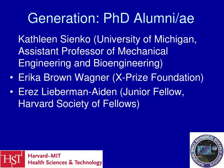 Generation: PhD Alumni/ae
