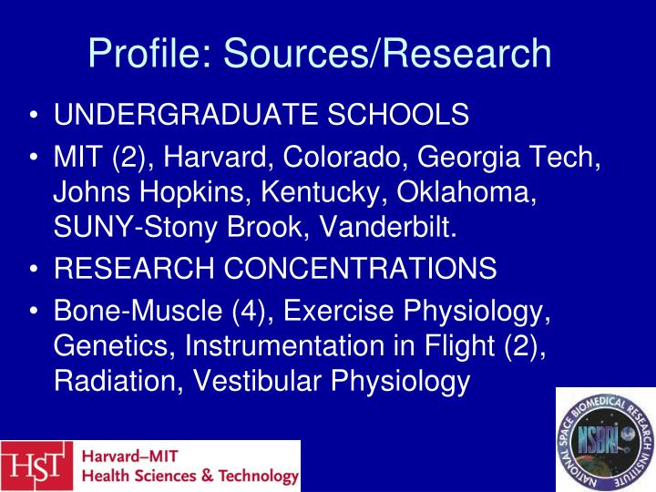 Profile: Sources/Research