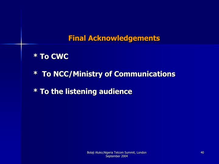 Final Acknowledgements