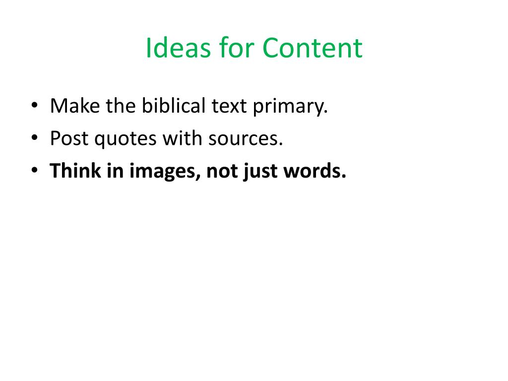 Ideas for Content