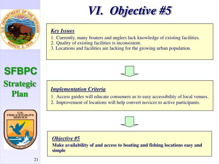 VI.  Objective #5