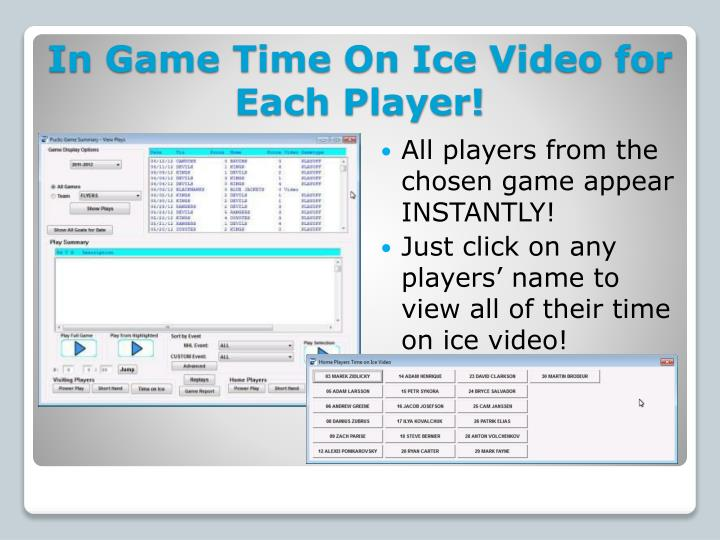 In Game Time On Ice Video for Each Player!