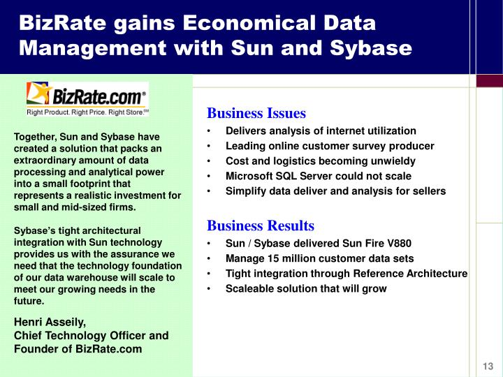 BizRate gains Economical Data Management with Sun and Sybase