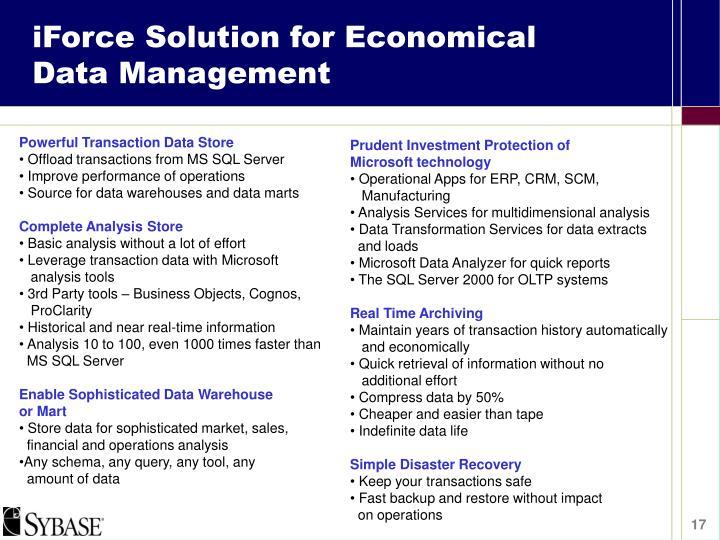 iForce Solution for Economical Data Management