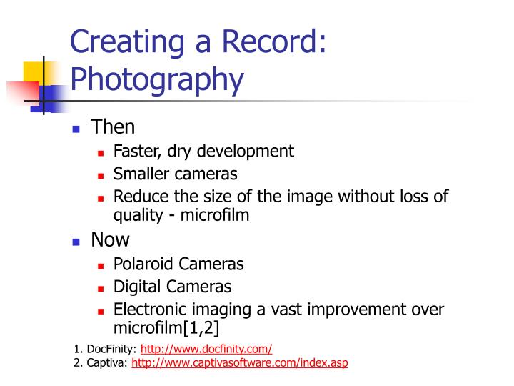 Creating a Record: Photography