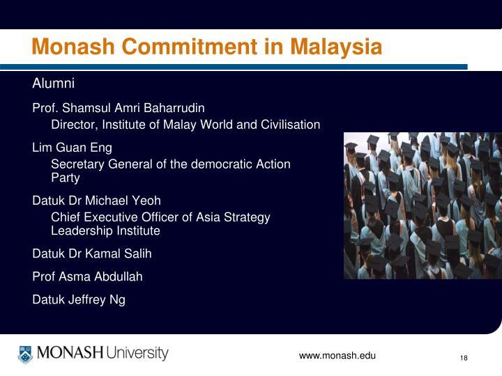 Monash Commitment in Malaysia