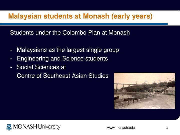Malaysian students at Monash (early years)