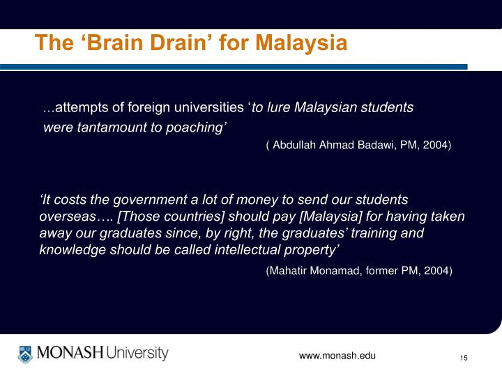 The 'Brain Drain' for Malaysia