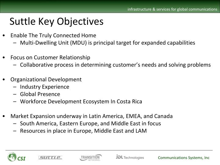 Suttle Key Objectives