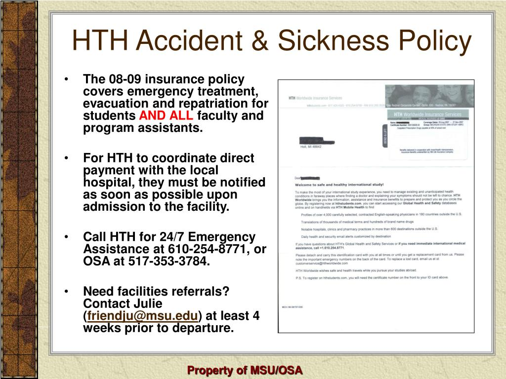 HTH Accident & Sickness Policy