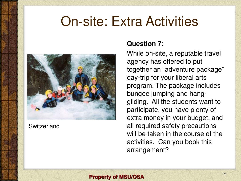 On-site: Extra Activities
