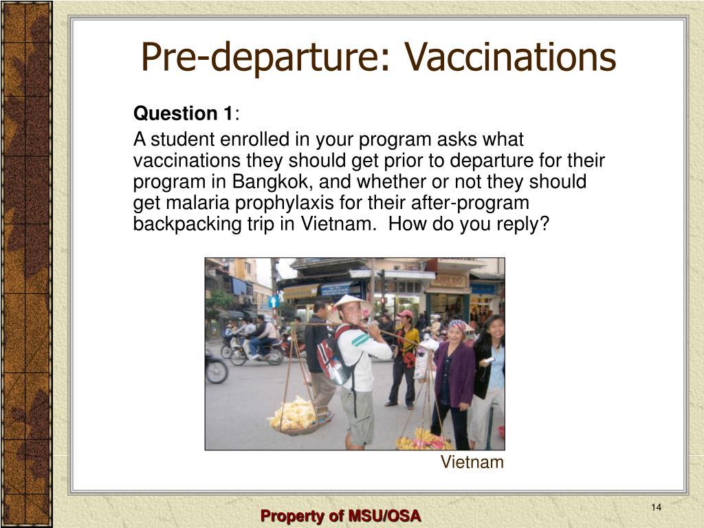 Pre-departure: Vaccinations
