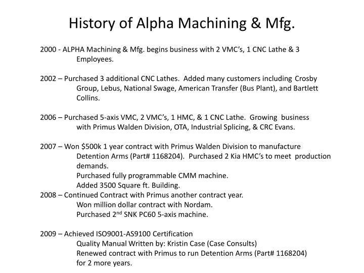 History of Alpha Machining & Mfg.