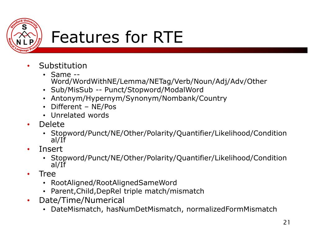 Features for RTE