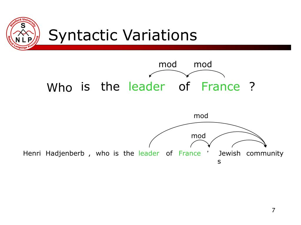 Syntactic Variations