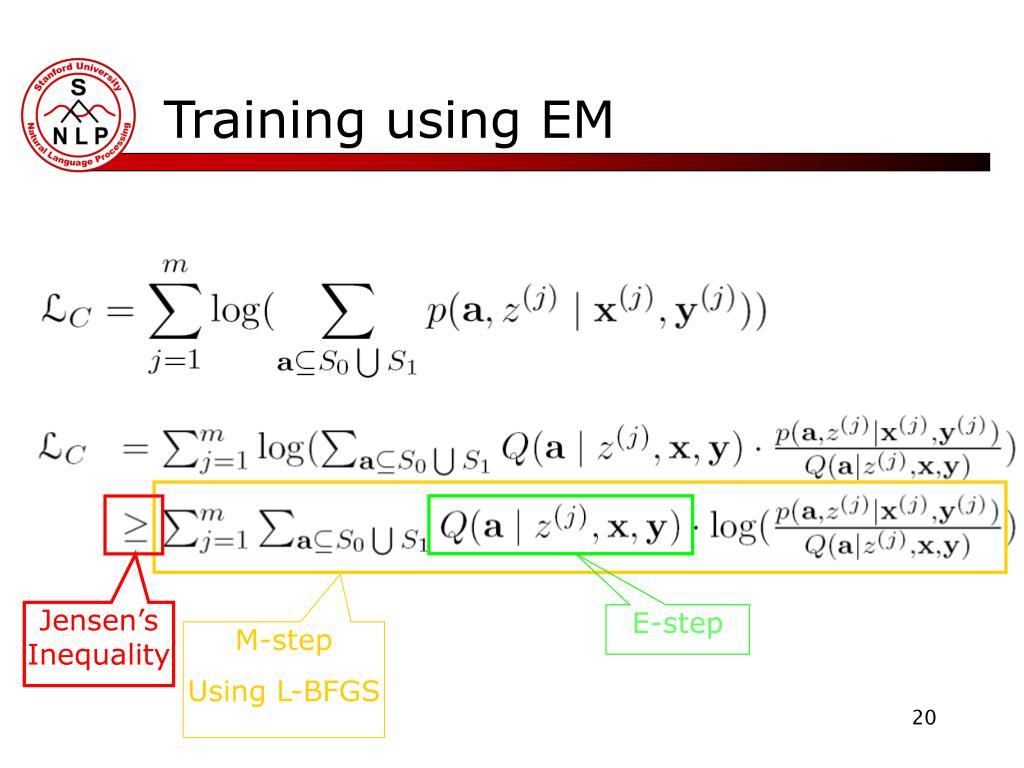 Training using EM