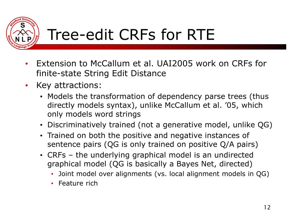 Tree-edit CRFs for RTE