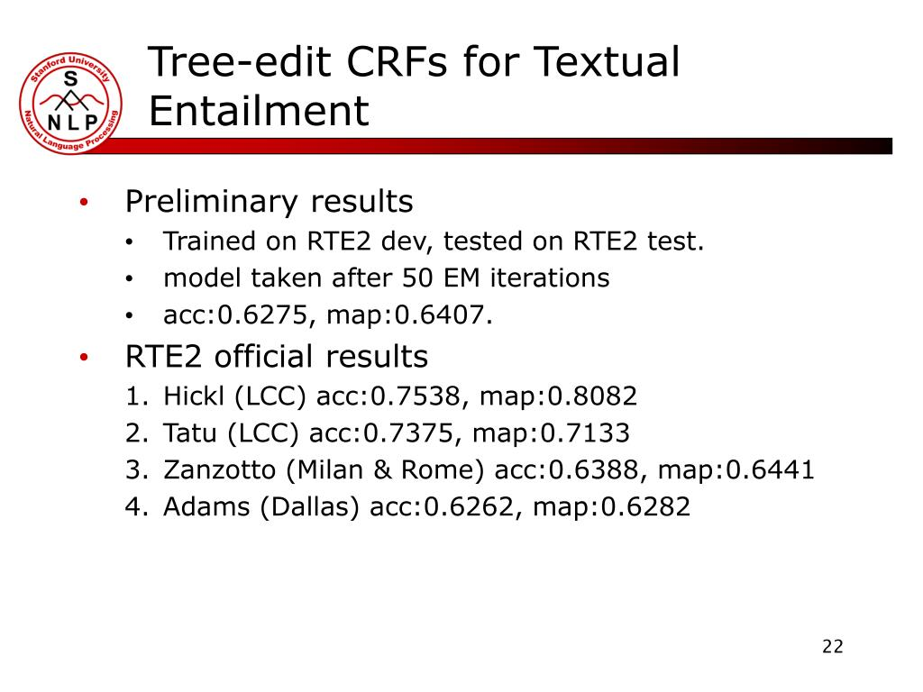 Tree-edit CRFs for Textual Entailment